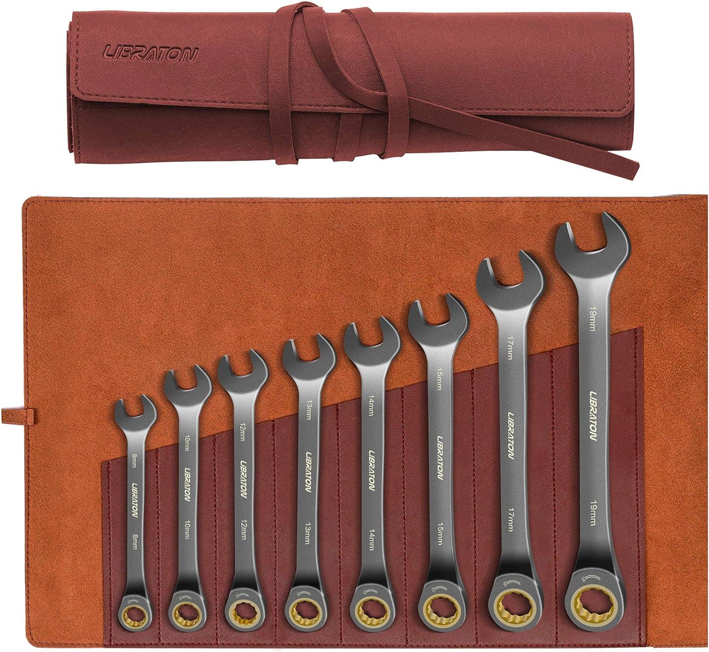 Libraton Juego de llaves de trinquete juego de llaves de carraca métricas combinadas con Bolsa organizadora de cuero, 8-19 mm, acero cromo vanadio, 8 piezas