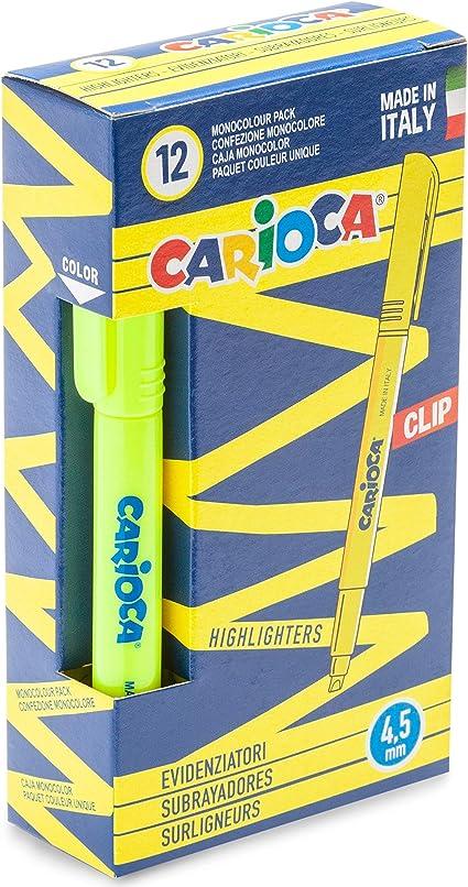 Carioca Clip - Caja de 12 subrayadores fluorescentes, color amarillo: Amazon.es: Oficina y papelería