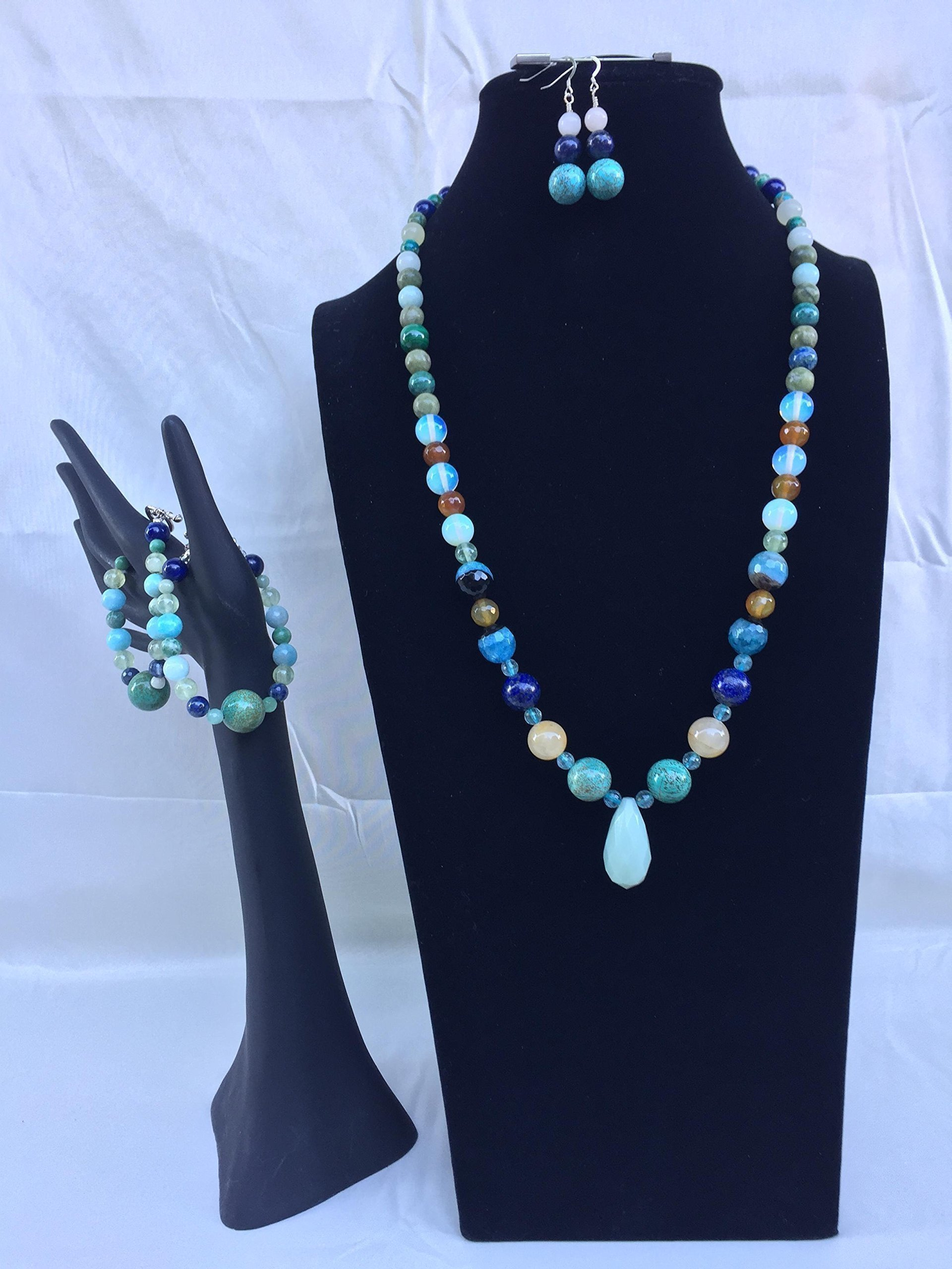 Unique handmade jewelry set with a necklace, two bracelets and matching dangle earring. Blue and green colored mixed gemstones. One of a kind