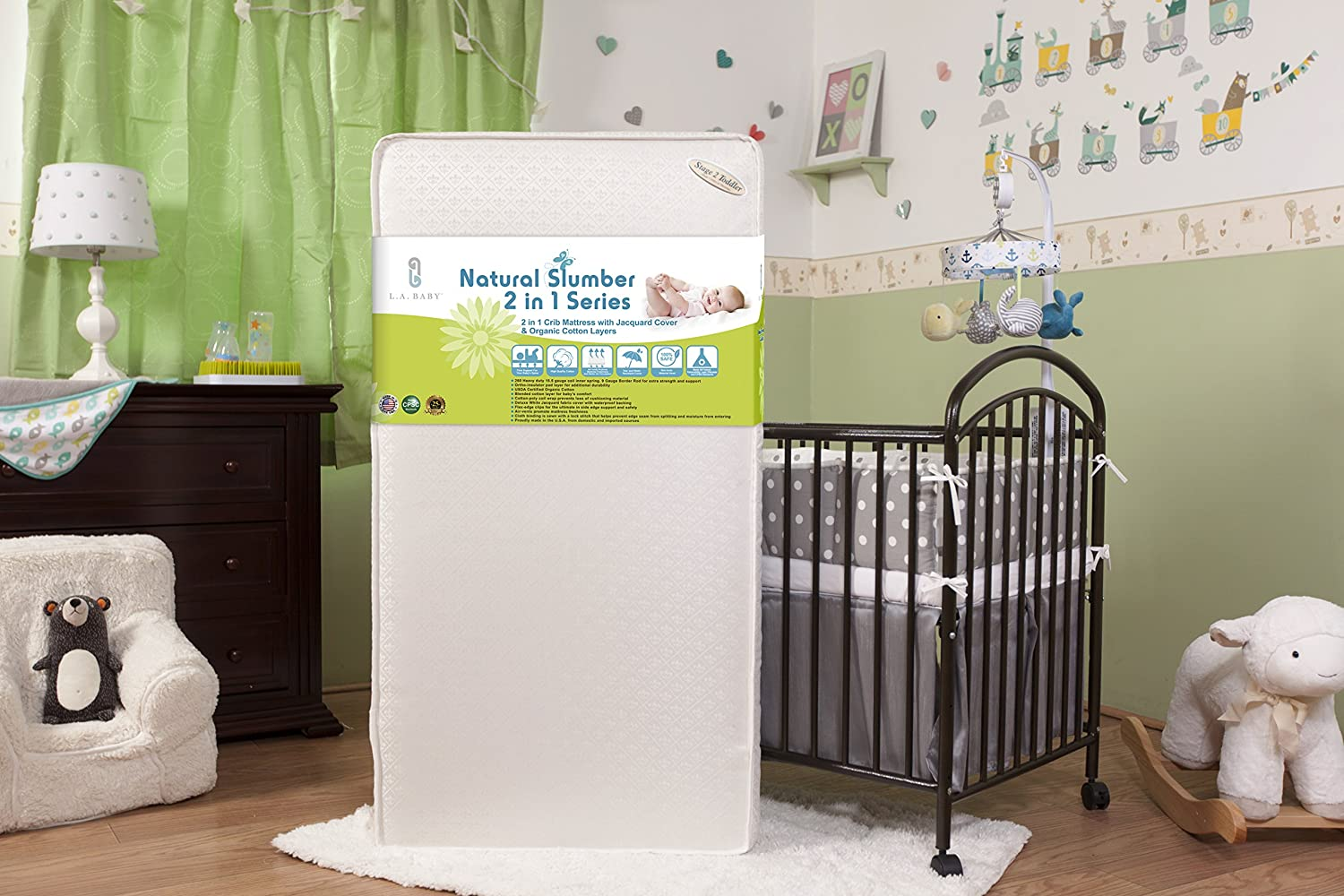 Amazon Com La Baby 2 In 1 Crib Mattress With Jacquard Cover