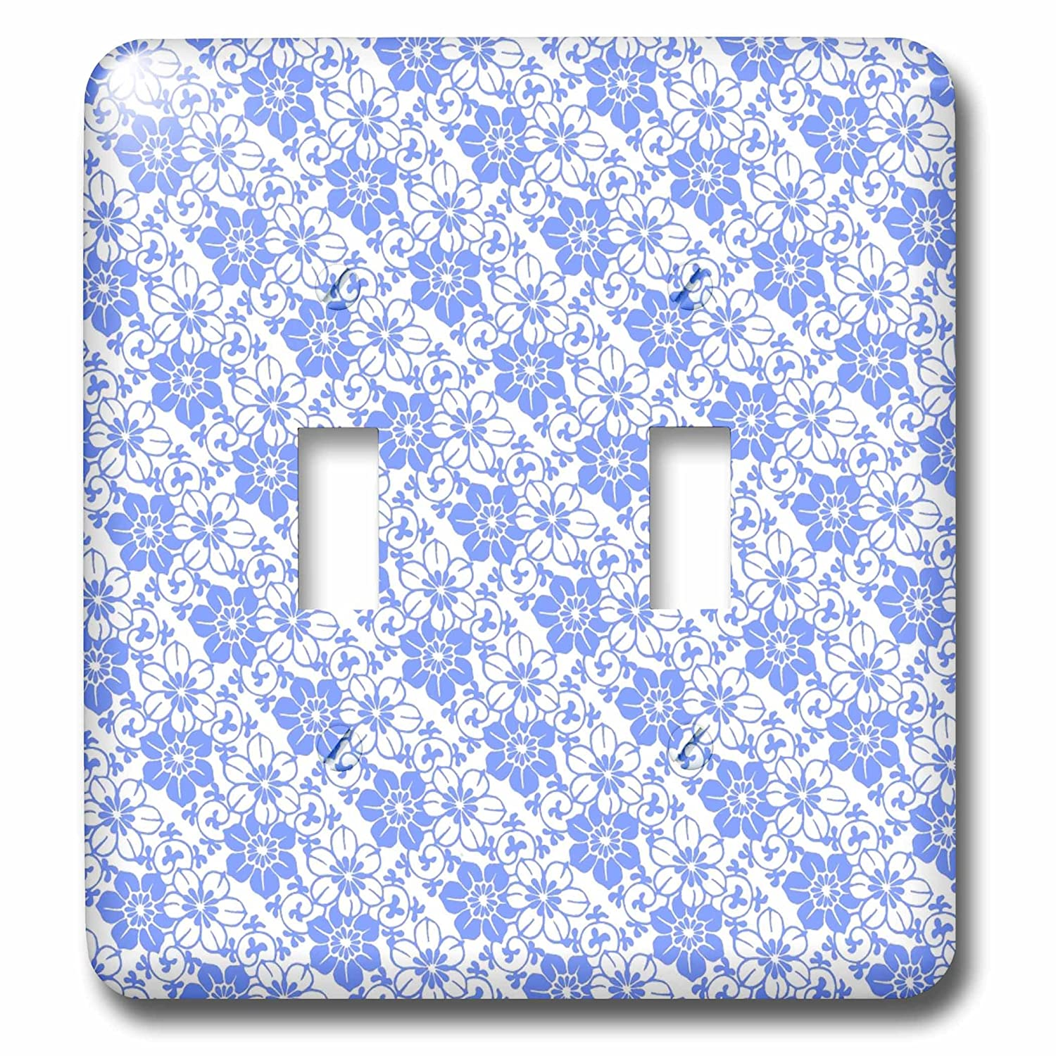 3dRose LSP/_238827/_2 Blue and White Floral Pattern Toggle Switch Mixed
