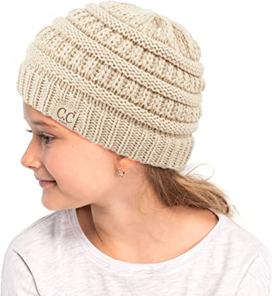 C.C Kids Beanie Ages 2-7 Warm Chunky Thick Stretchy Knit Slouch Beanie Skull Kids Hat with Pom YJ-847-POM