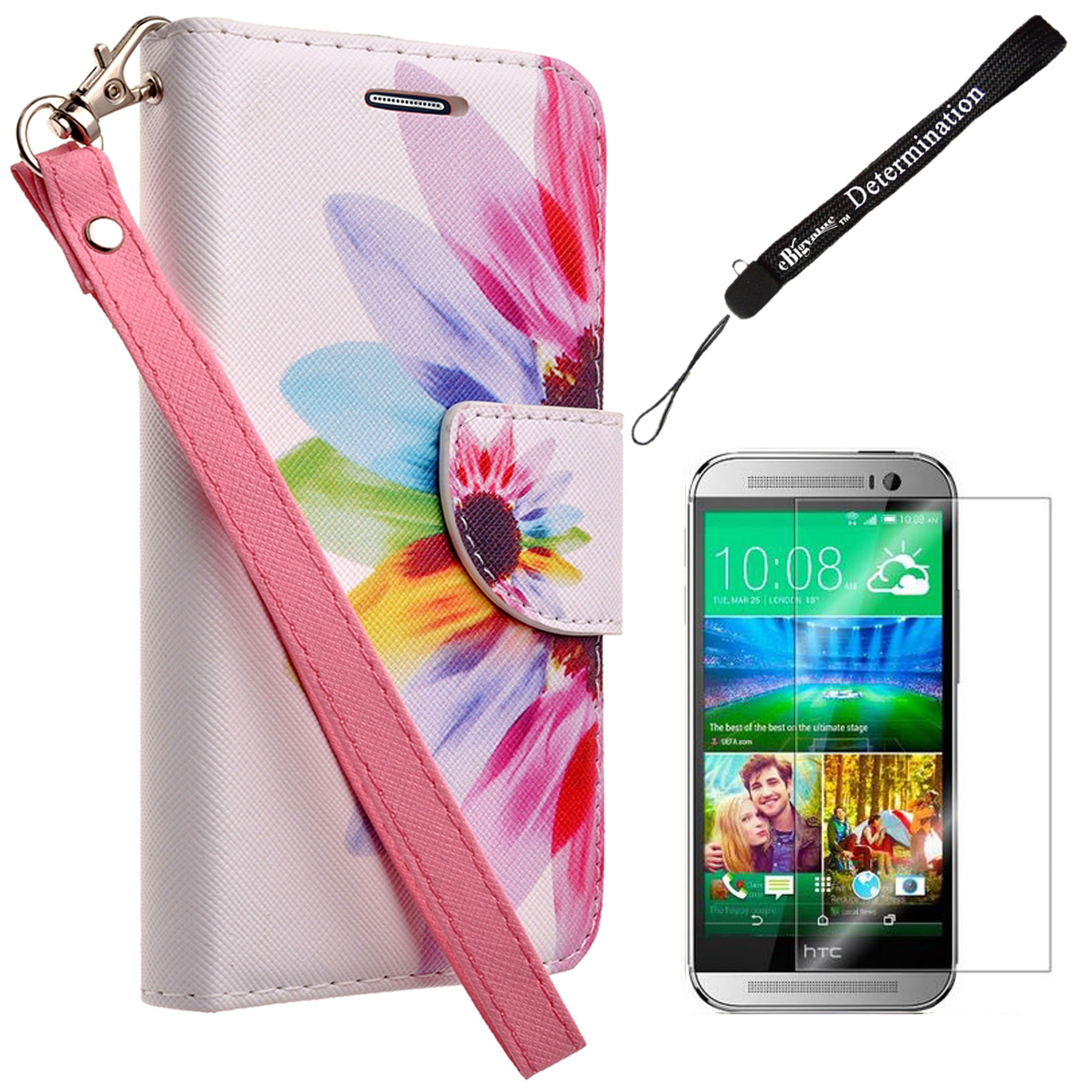 Fashion Design Rainbow Sunflower Wallet Flip Case w/Screen Protector for HTC One M9 Android 5.0 Lollipop with HTC Sense