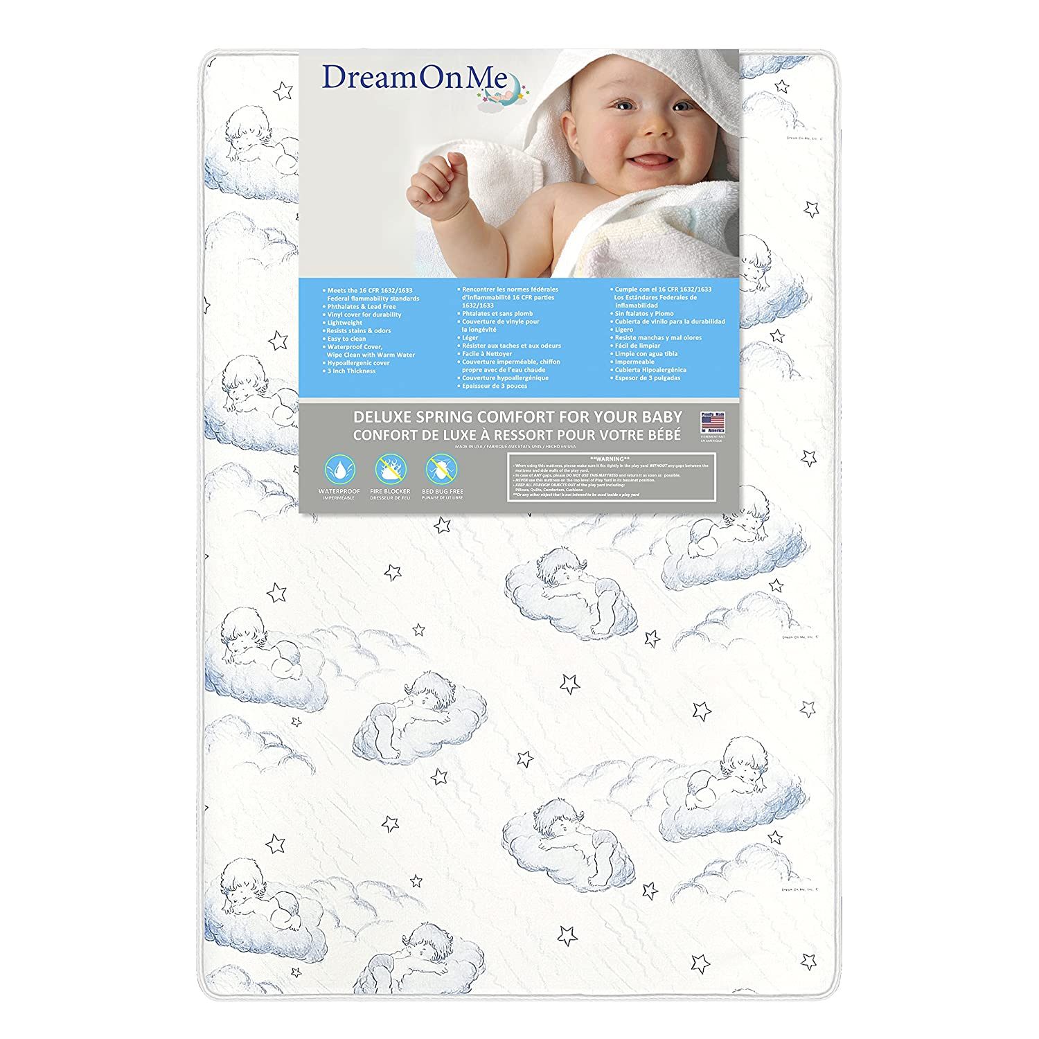 Dream On Me 3-Inch Spring Coil Portable Crib Mattress White/Blue 21