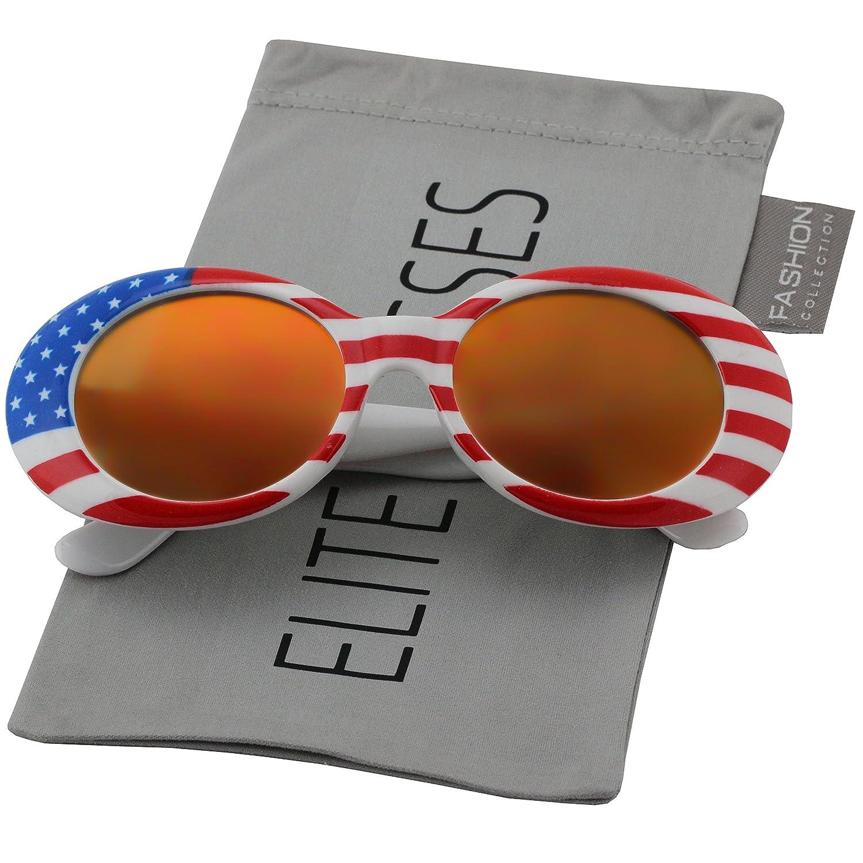 e60d325987e Amazon.com  Clout Goggles Oval Mod Retro Thick Frame Rapper Hypebeast  Eyewear Supreme Glasses Cool Sunglasses (American Flag