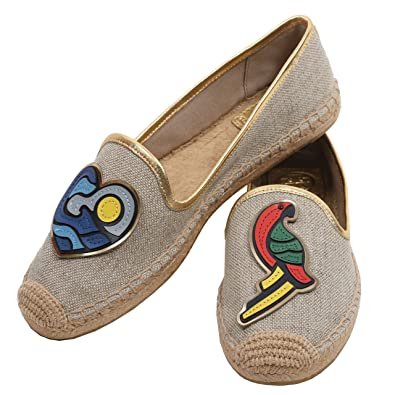 28a98eb4893 Tory Burch Parrot Flat Espadrille Linen Leather Canvas Gold Size  4 ...