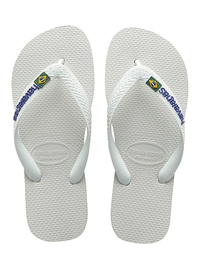 c4ad699472a7 Havaianas Brasil Logo White Mens Womens New Flip Flops-5  Amazon.co.uk   Shoes   Bags