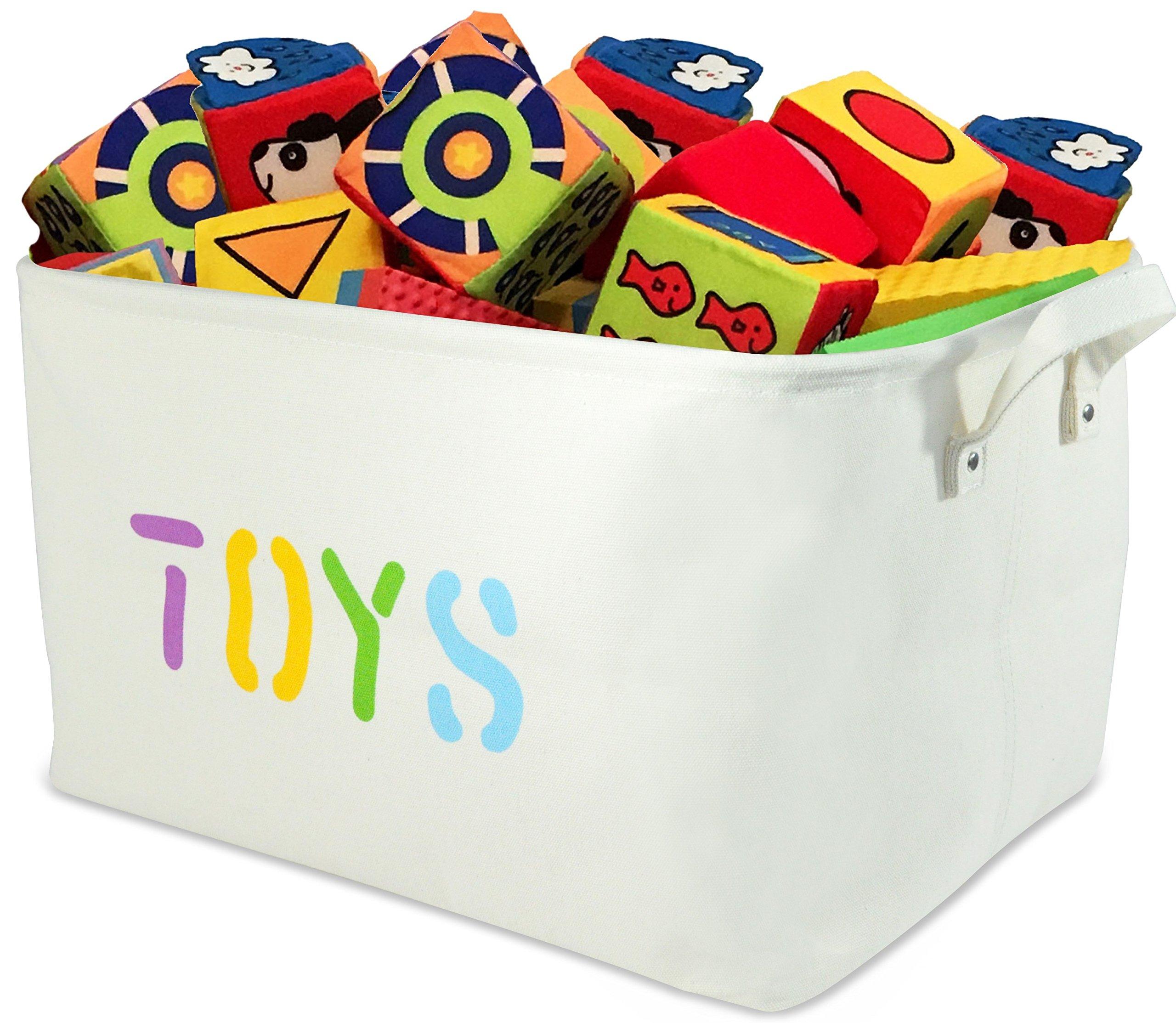 "OrganizerLogic Canvas Storage Basket - Large Storage Bin with Handles - Decorative Storage Containers in Beige - 22"" x 15"" x 13"" Woven Fabric Bin (Extra Large)"