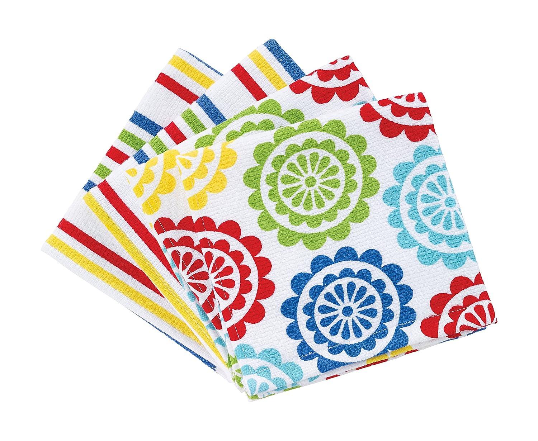 T-fal Textiles 2 Pack 100% Cotton Print Dual Sided Dish Cloths, Neutral Bulb Pattern John Ritzenthaler Company 22459
