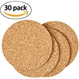 "Cork Drink Coasters - Blank Reusable Absorbent Eco-friendly DIY Tile Craft Board -Protect Furniture From Damage and Water Rings Restaurant Cafe Supplies (1/8"" Thick 30 Pack)"