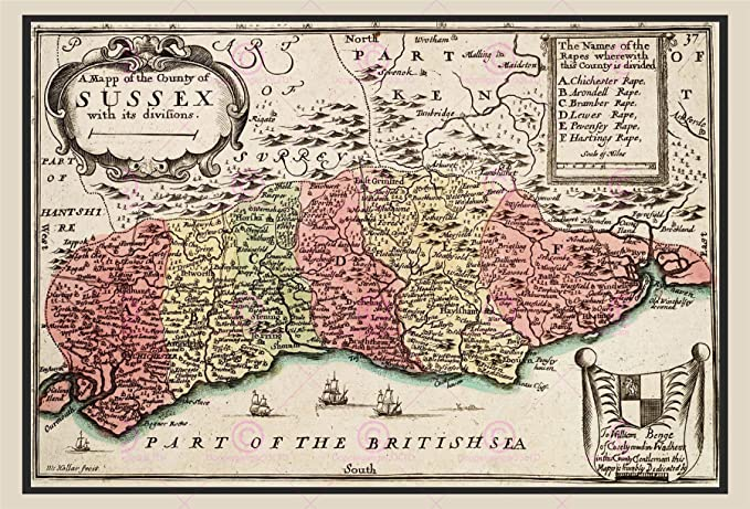 Map 17th Century Hollar Sussex County England Large Replica Poster
