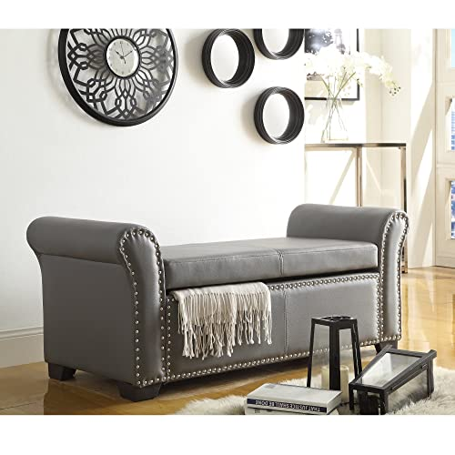 Inspired Home Noah Grey Leather Storage Bench - Nailhead Trim | Ottoman | Modern & Contemporary