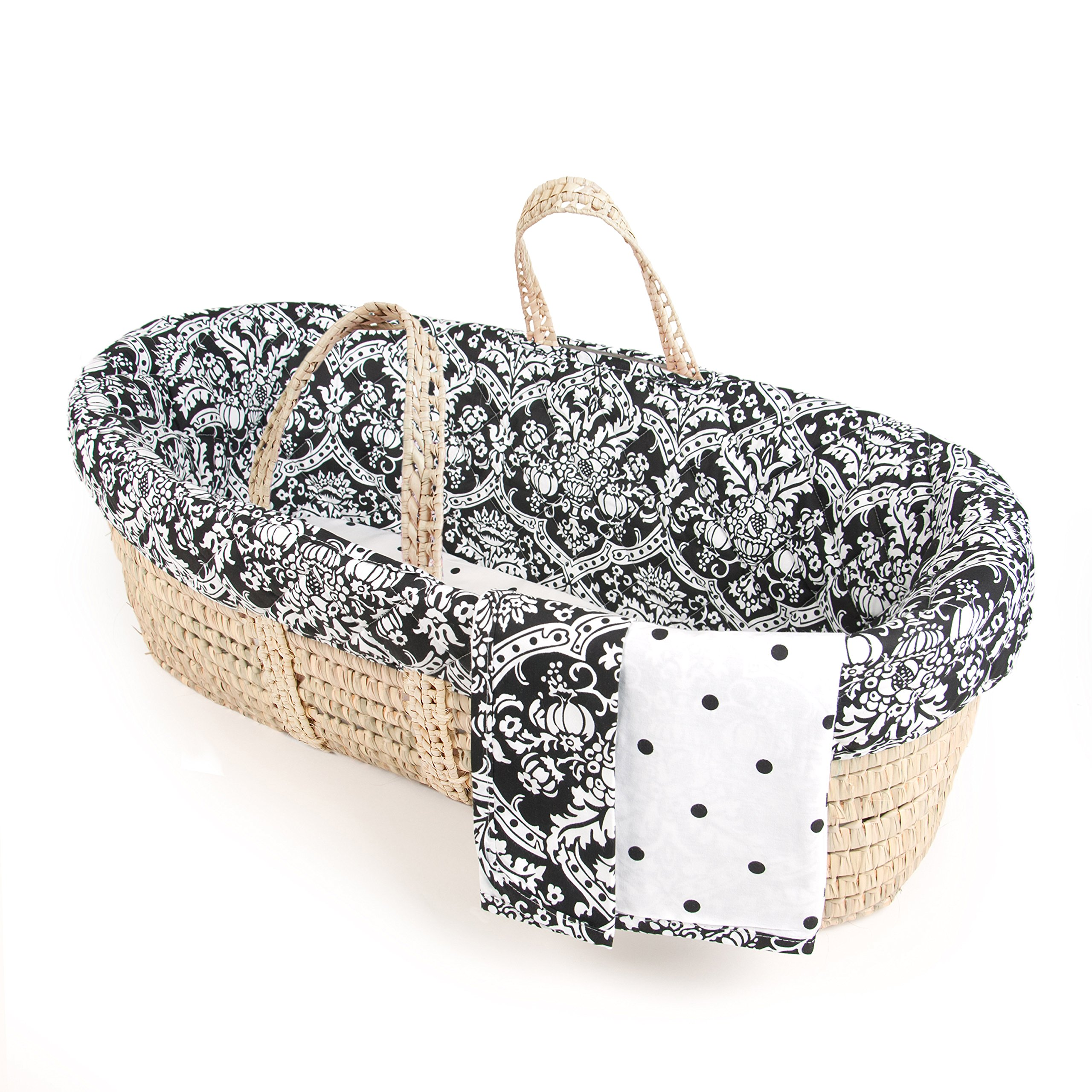 Tadpoles Damask Moses Basket and Bedding Set, Black/White