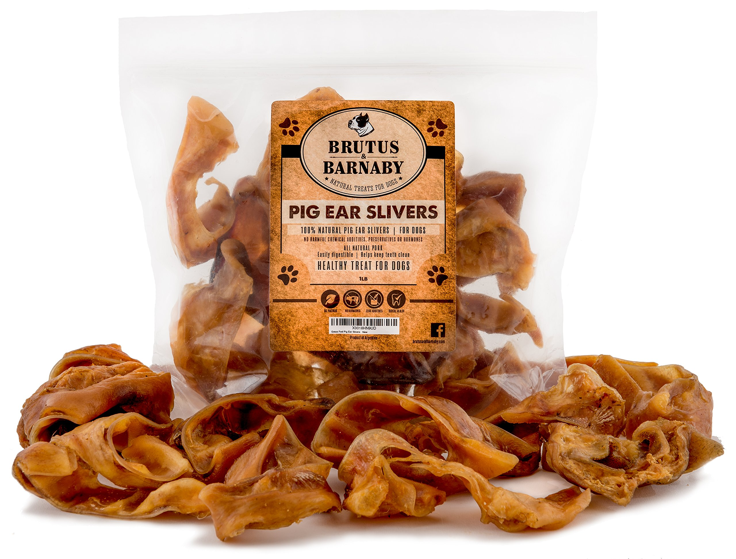 Pig Ear Slivers- 1 lb THICK CUT, All Natural Dog Treat, Healthy Pure Pork Ear, Easily Digested, Best Gift for Large & Small Dogs from Brutus & Barnaby