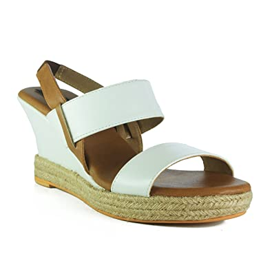 f1142fd56a5 Kraft Cellar White Ankle Strap Casual Wedge Sandals for Women Girls-Hazel   Buy Online at Low Prices in India - Amazon.in