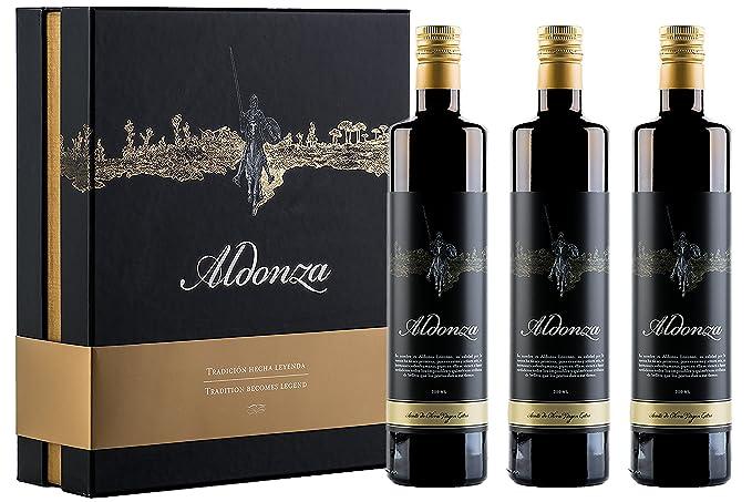 Aceite de Oliva Virgen Extra, Aldonza - Caja de degustación de regalo Gourmet de 3 botellas x 750 ml [pack de 3]- Primera Extración en Frio.