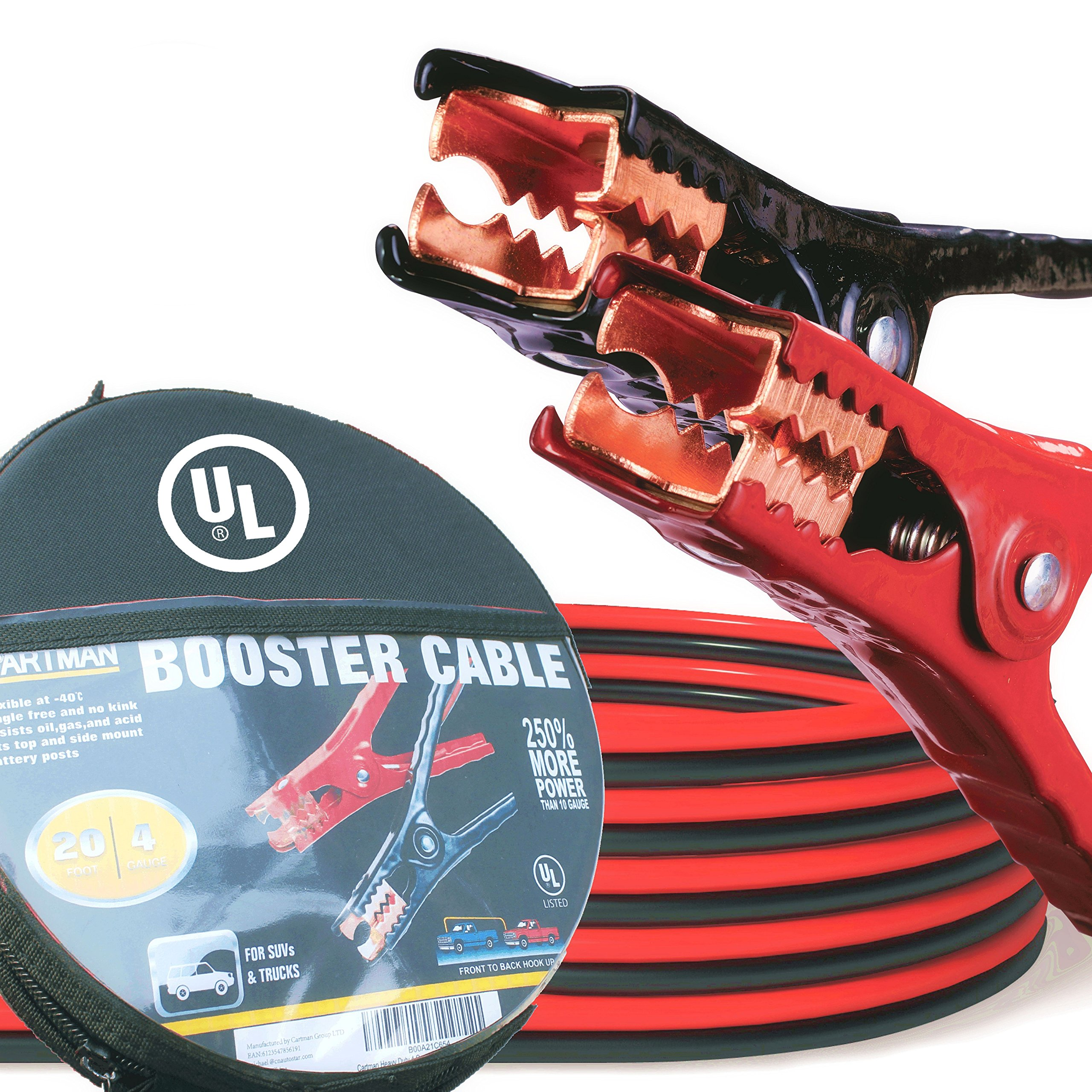 CARTMAN Booster Cable 4 Gauge x 20Ft in Carry Case UL Listed (EVA Case) by CARTMAN
