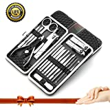 Manicure Pedicure Set Nail Clippers,ZeoMep Manicure Tools-18pcs Stainless Steel Professional Fingernails And Toenails Clippers Grooming Kit With Portable Leather Luxurious Travel Case(Black )