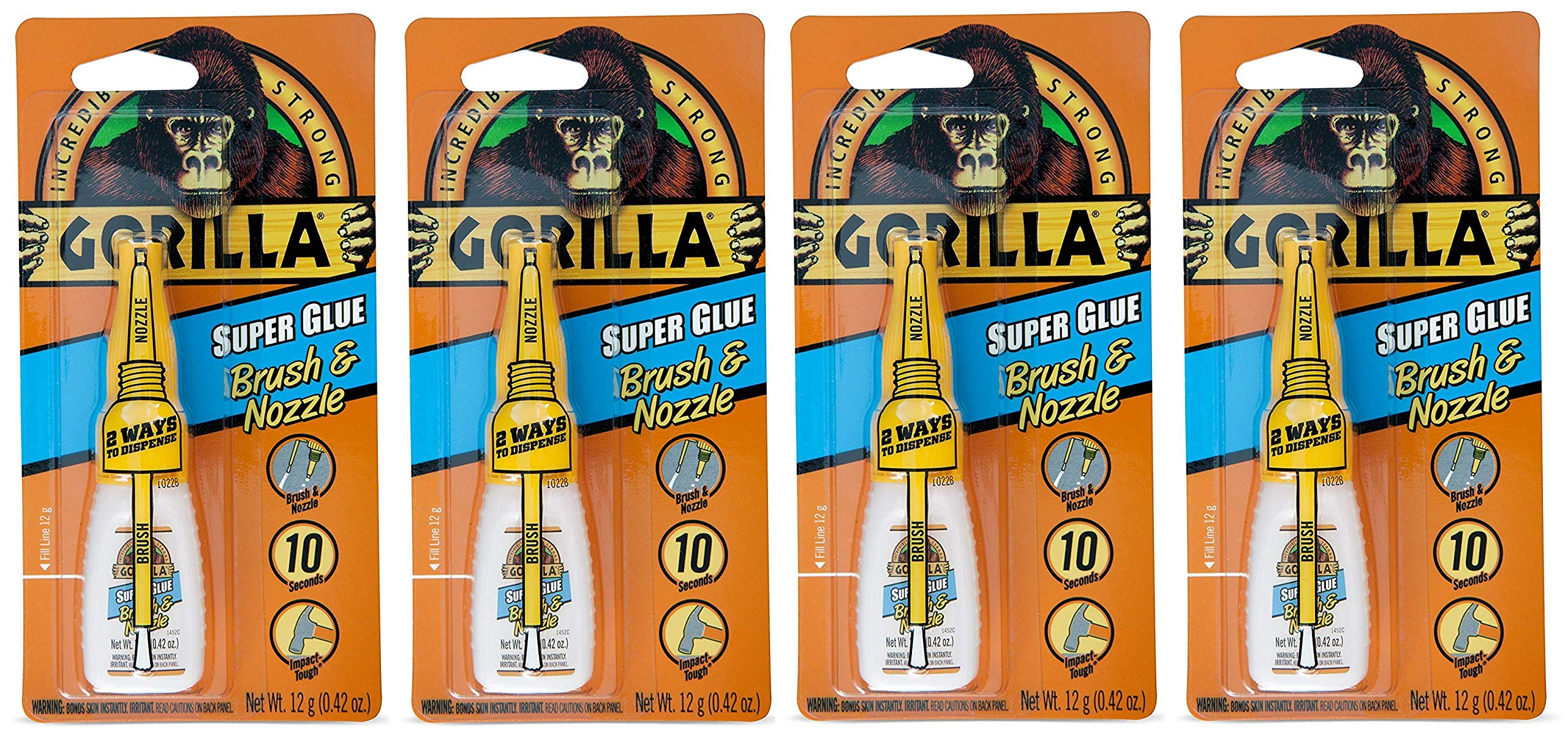 Gorilla Super Glue with Brush & Nozzle Applicator, 12 Gram, Clear (Fоur Расk)