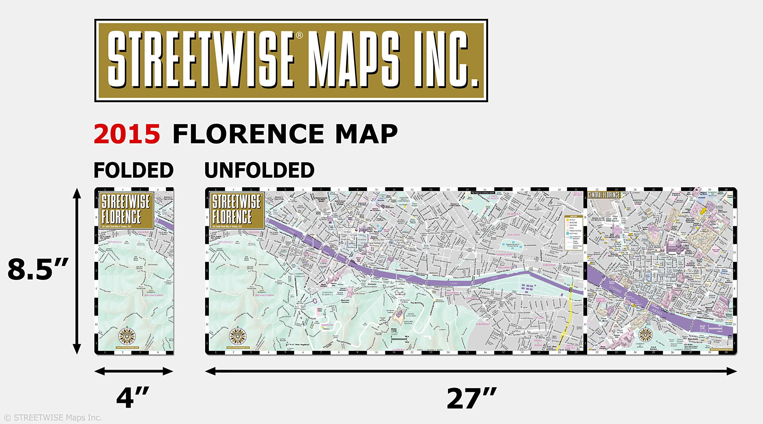 Streetwise Florence Map - Laminated City Center Street Map of ...