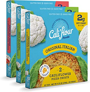 product image for Cali'flour Foods Pizza Crust (Variety Pack, 3 Boxes, 6 Crusts) - Fresh Cauliflower Base | Low Carb, High Protein, Gluten and Grain Free | Keto Friendly