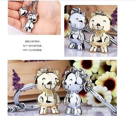 Ruesious Creative romántico Fashion Cute Couple Bear Llavero ...