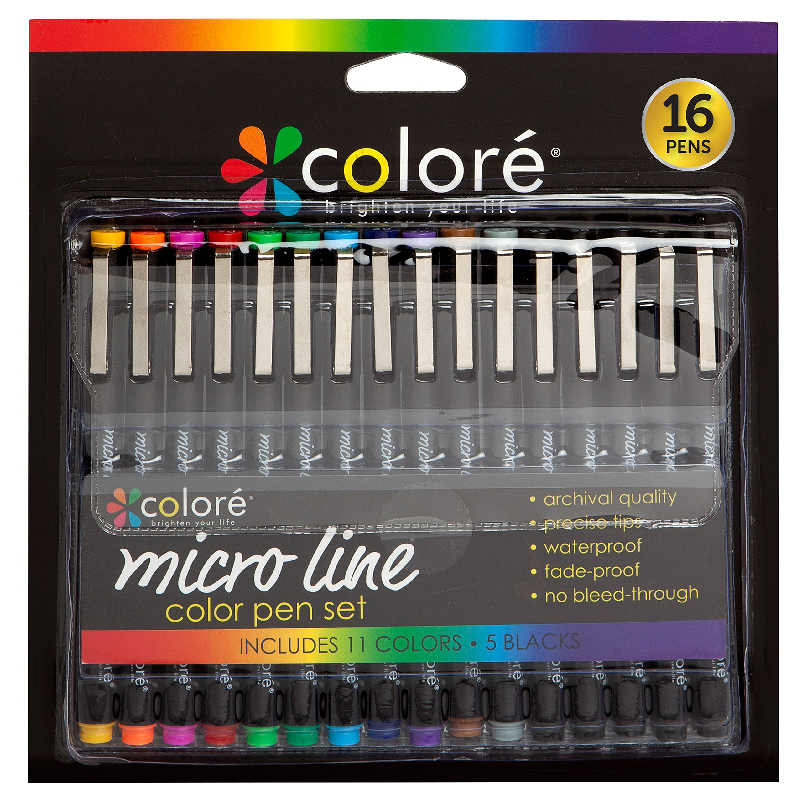 Colore PRECISION Ultra Fine Tip Micro Line Pens â Waterproof & Vibrant Color Inking Pen Set With Variety Nib Sizes (16 Pack)