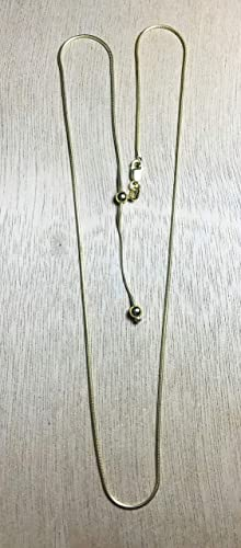 925 Sterling Silver 1.14MM Adjustable Slider Gold Vermeil Snake Chain Necklace 14-24 inch By My Prime Gifts