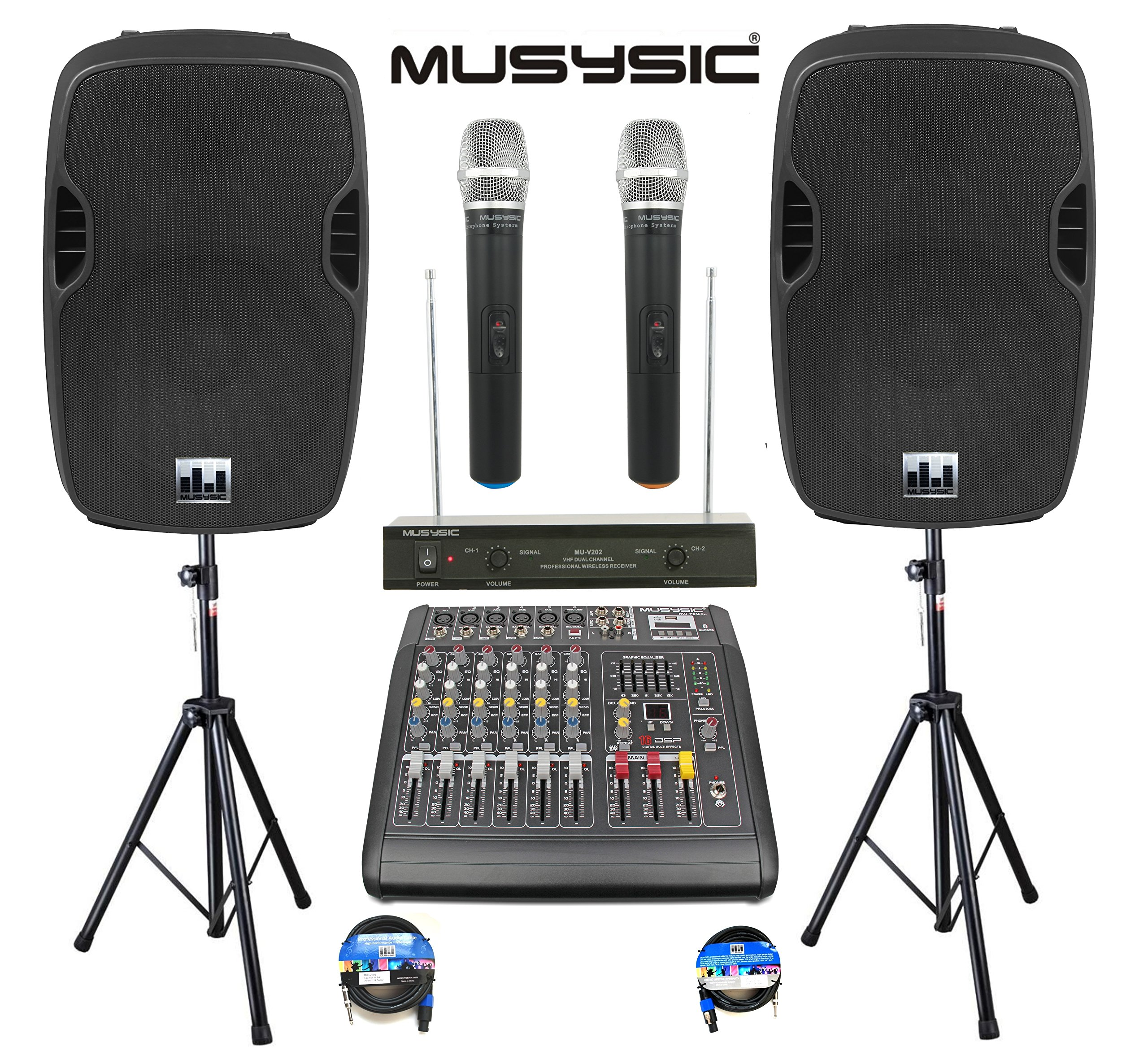 Complete Professional 2000 Watts Complete PA System 6 Ch Mixer 10'' Speakers Dual Wireless Mics Stand