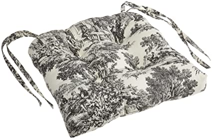 Superieur Victoria Park Toile Cushioned Chair Pad, Black