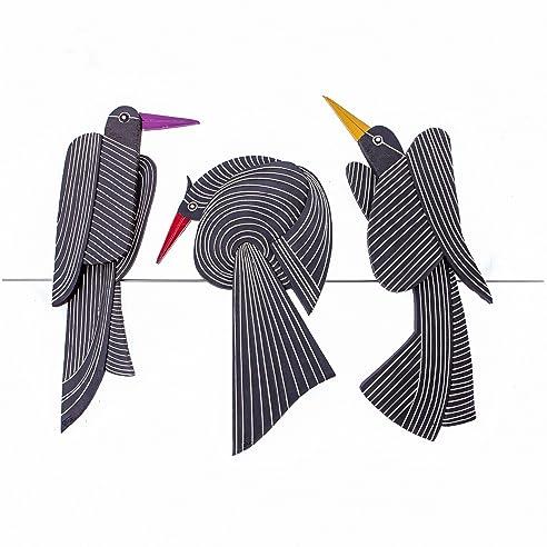 Amazon.de: Vogel Set auf Draht Wand Kunst Dekor Keramik Skulpturale ...