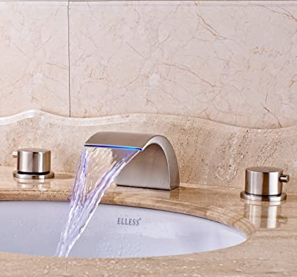 Senlesen Widespread LED Bathroom Waterfall Basin Faucet Dual Handle Bathroom  Sink Faucet Brushed Nickel