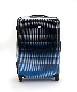 Distinct Blue Dot Hard Shell Suitcase Large 4 Wheels Warranty ...