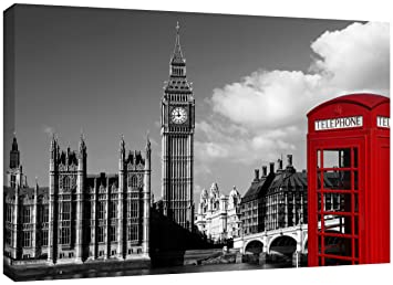 MOOL Large 32 X 22 Inch Phone Box Black White London Canvas Wall Art Print