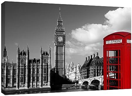 MOOL Large 32 X 22 Inch Phone Box Black White London Canvas Wall Art Print
