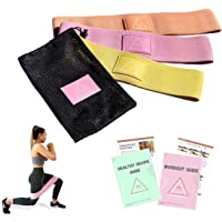 Bitty FIT Fabric Resistance Bands for Women | Perfect for Therapy, Stretching, Squats, Booty & Leg Workouts | Latex Free Set of 3 Fitness Hip Circles with A Travel Pouch, Exercise & Diet Guide