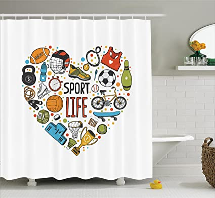 Ambesonne Sports Decor Shower Curtain Set Heart Figure With Icons Swimming Skating Muscle Good