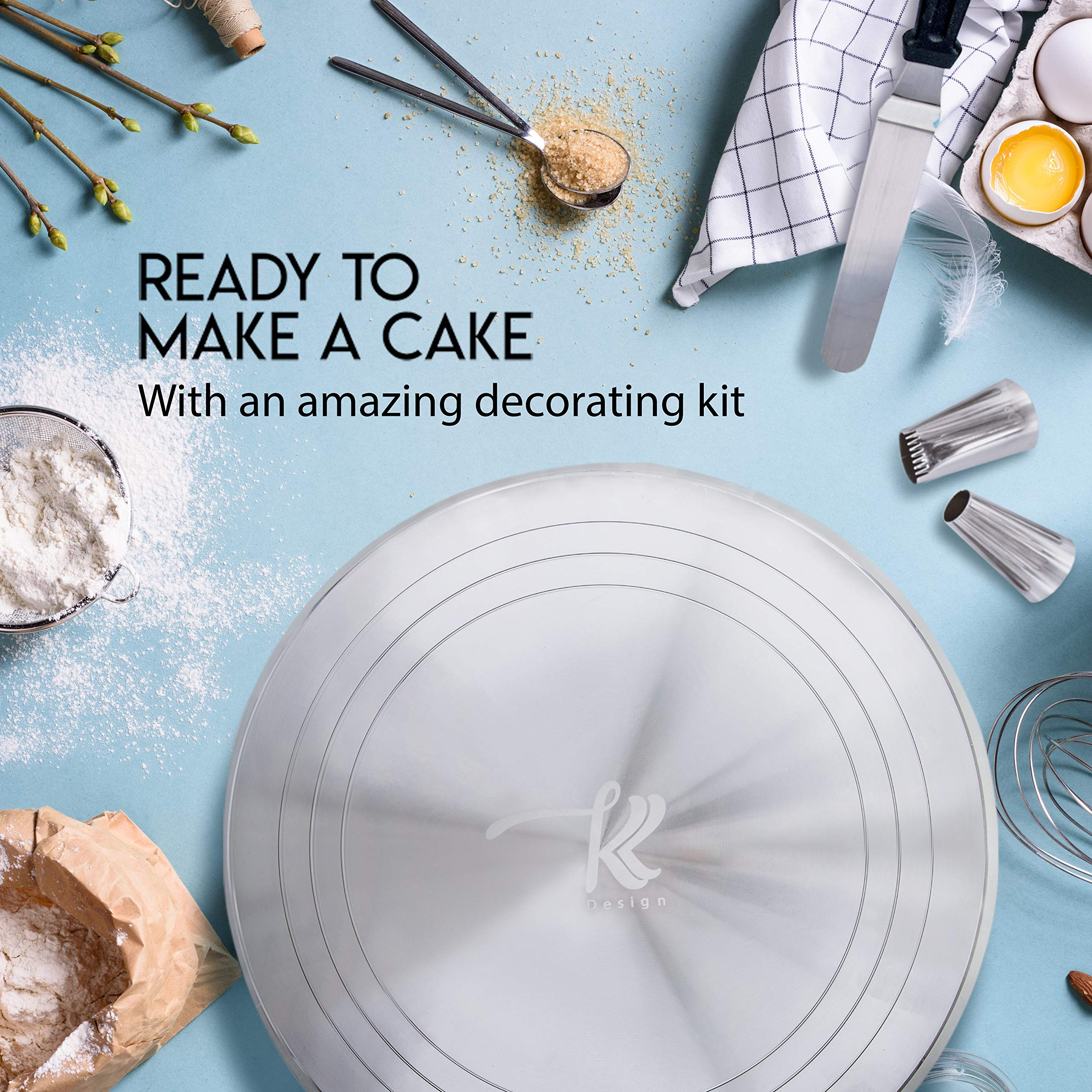 186 Pcs Cake Decorating Supplies Kit,Aluminium Rotating Turntable Stand,Frosting Piping Tips,100 Disposable Bags,Couplers,Scrapers,Spatulas,Cutter,Smoother,Flower Nails,Lifter,Baking Tools Set by K&K Design (Image #9)