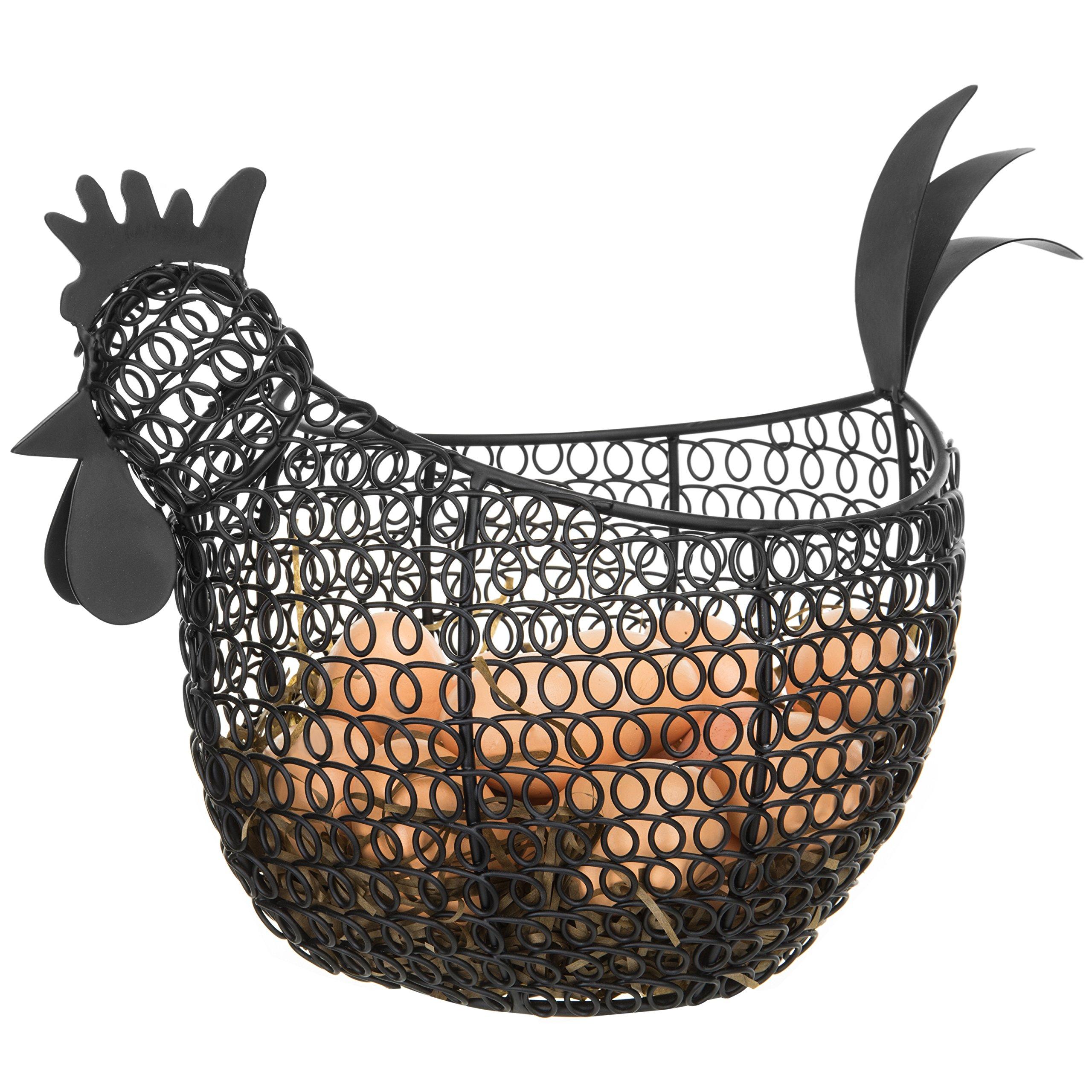 MyGift Aesthetic Black Metal Wire Chicken-Shaped Egg Storage Basket