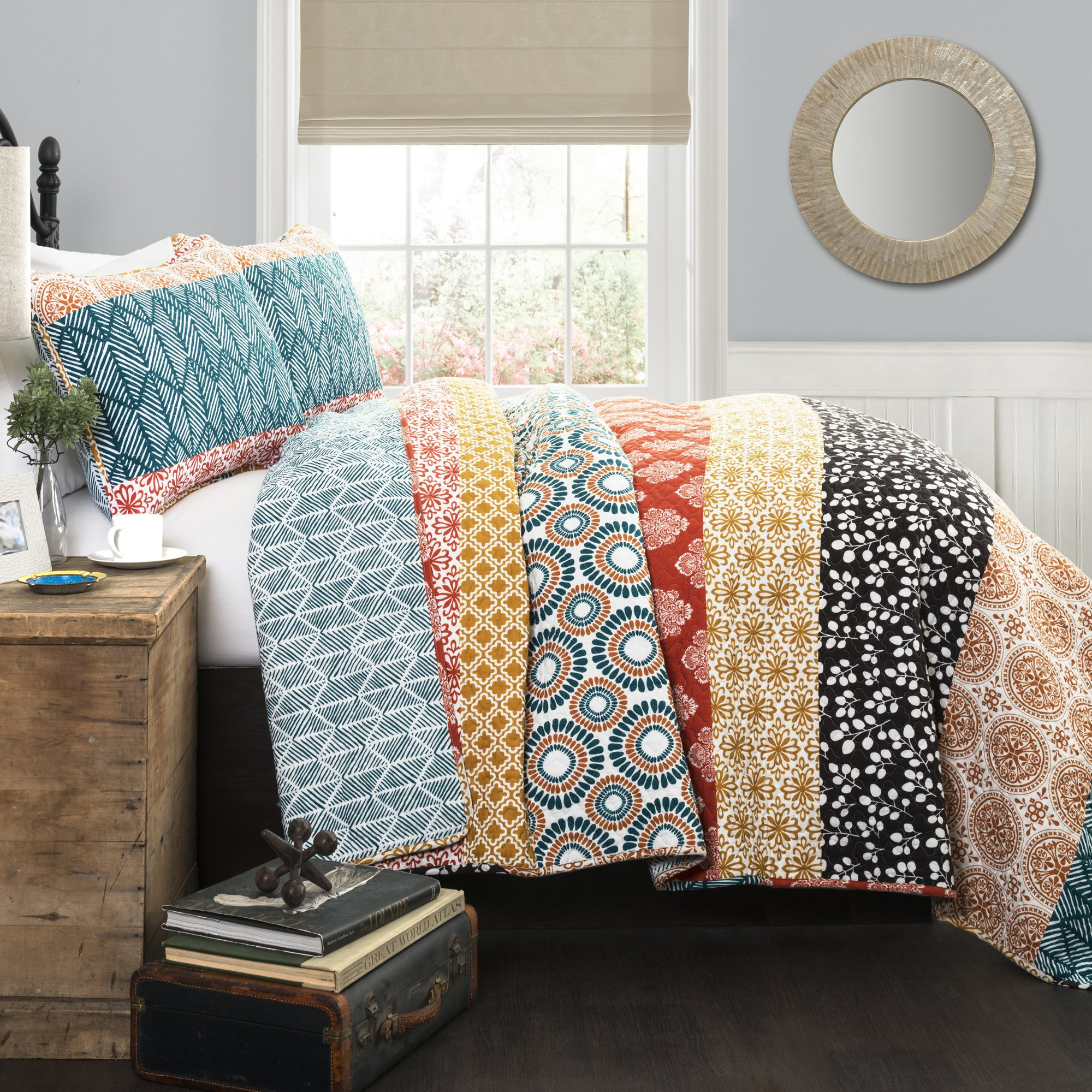 Lush Decor 3 Piece Bohemian Stripe Quilt Set, Full/Queen, Turquoise