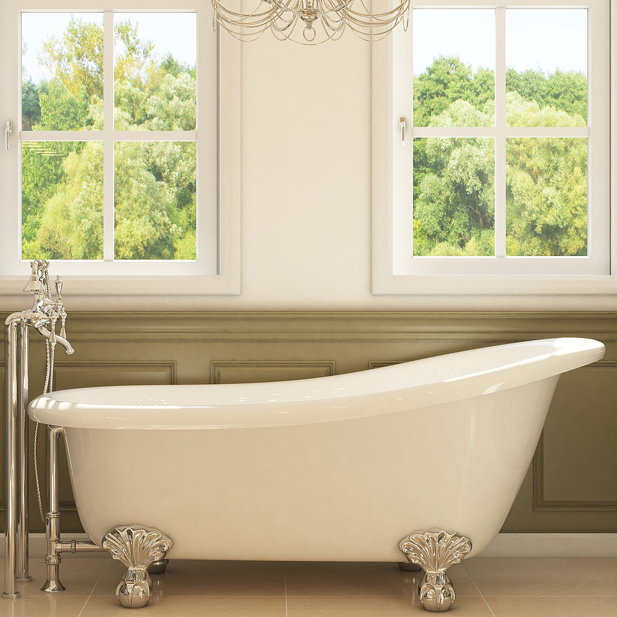 Luxury 67 inch Clawfoot Tub with Vintage Slipper Tub Design in White, includes Polished Chrome Ball and Claw Feet and Drain, from The Glendale Collection by Pelham & White