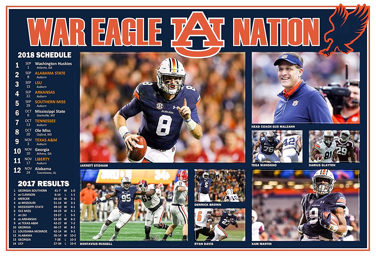 Amazon Com Posterwarehouse2017 Auburn Tigers 2018 Pictorial