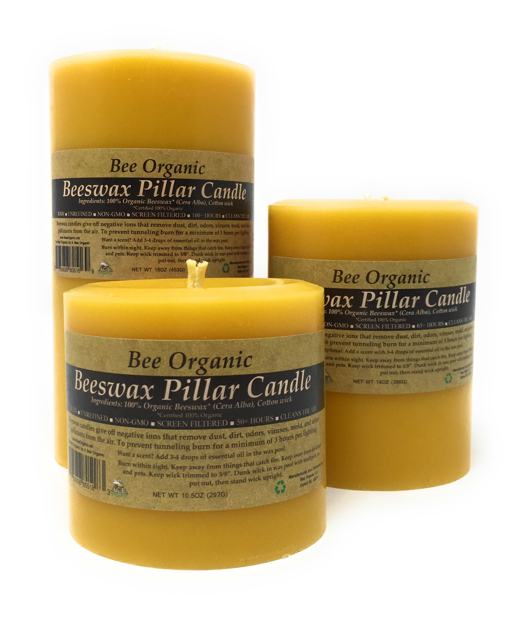 100% Organic Beeswax Pillar Candle, Non-GMO, Raw, Unrefined and Screen Filtered. Unbleached Cotton Wick. (3 x 6) by Bee Organic (Image #4)