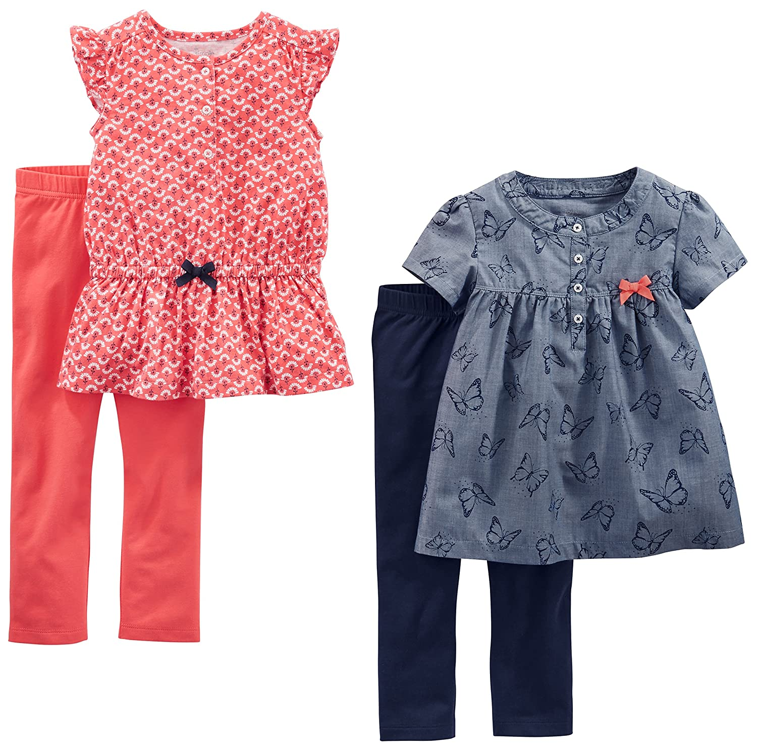 Simple Joys by Carters Toddler Girls 4-Piece Tops and Pants Playwear Set
