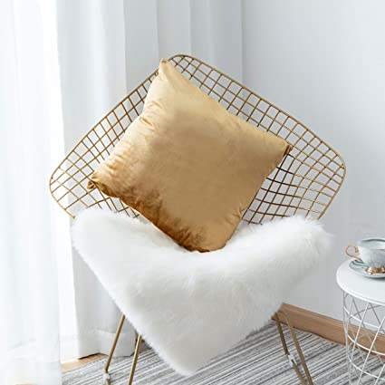 HOME BRILLIANT Velvet Square Large Throw Pillow Cover Euro Sham Decorative  Pillowcase for Bed Sofa Couch Office Car, 26 x 26 inches(66cm), Gold
