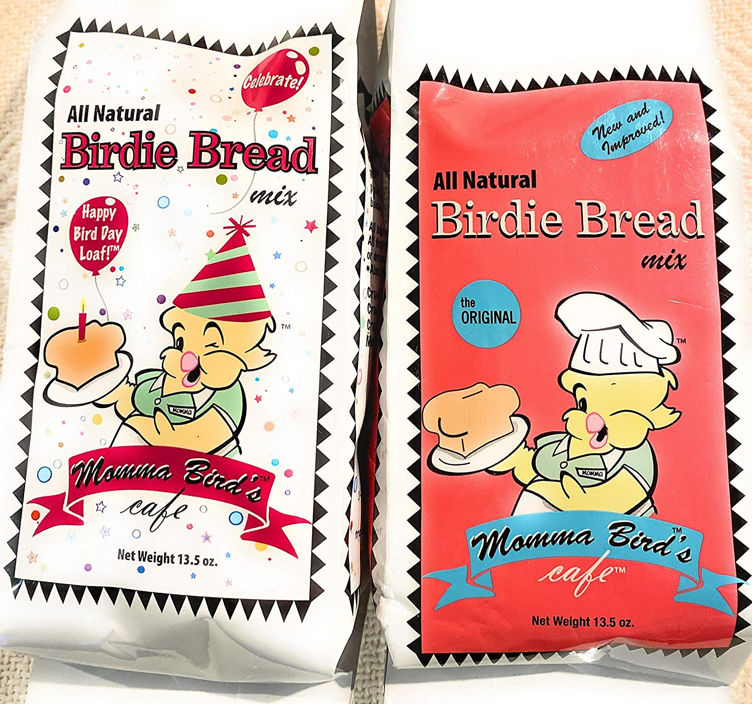 V&P Momma's Bird Bread Mix for Bird Food or Bird Treat - Bundle of One Original and One Happy Bird Day Bags