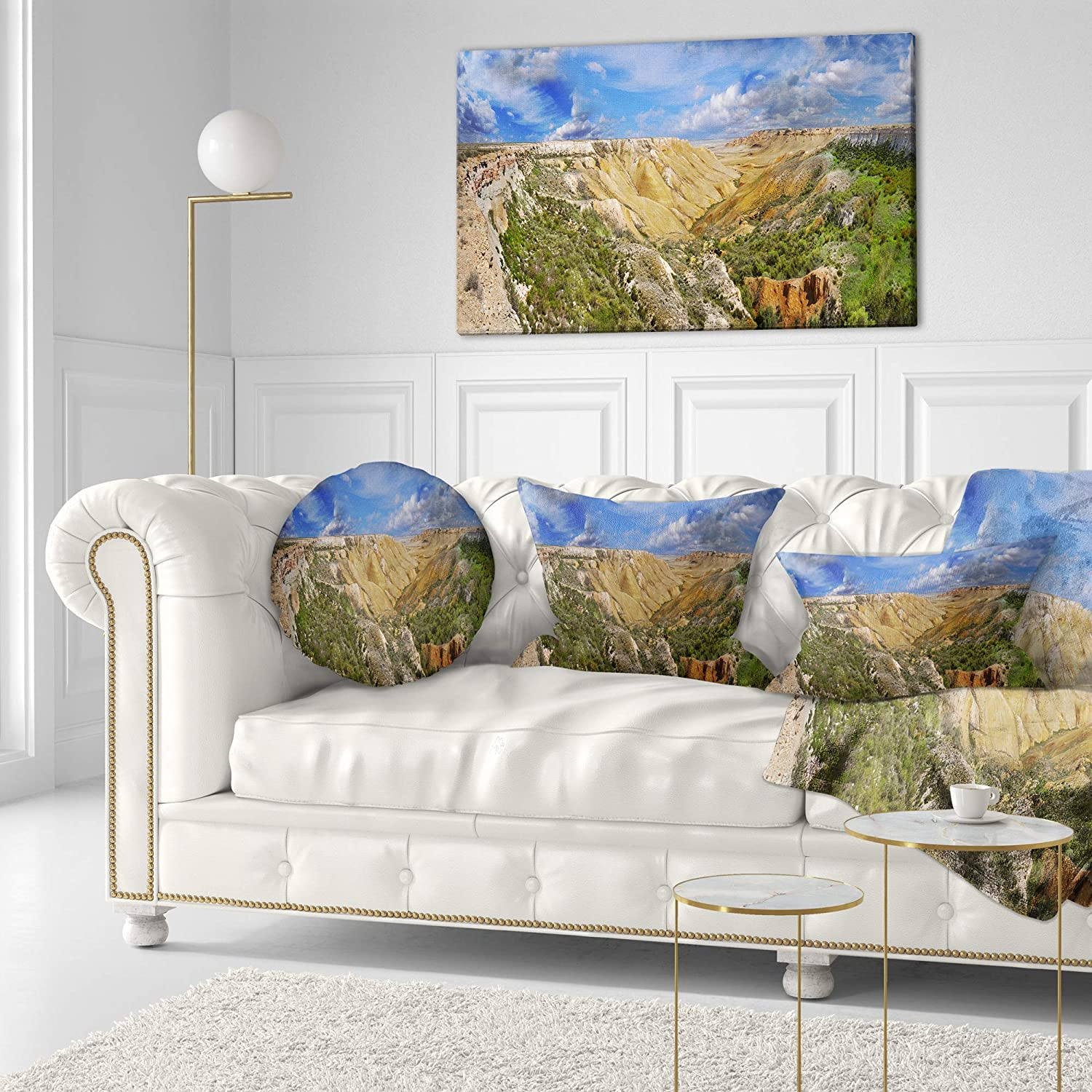 Insert Side Sofa Throw Pillow 20 Designart CU15269-20-20-C Canyon on Slopes of Plateau Ustyurt Landscape Printed Round Cushion Cover for Living Room