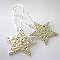 Star Earrings Textured Silver Plated Nickel And Lead Free