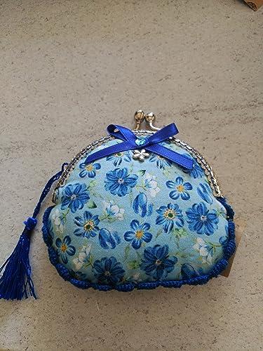 Monedero hecho a mano tela flores azules: Amazon.es: Handmade