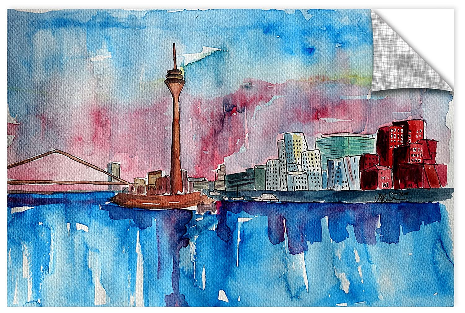 32X48 Marcus//Martina Bleichner Dusseldorf Germany Media Harbour Sunset Removable Wall Art Mural